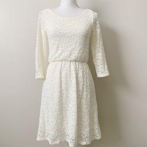 Everly Cream Lace 3/4 Sleeve Dress
